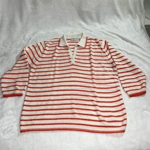 White Stag Striped Long Sleeve Knit Polo Sweater